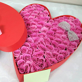 핑크하트상자 100송이장미