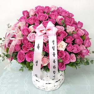 핑크생일 꽃바구니배달